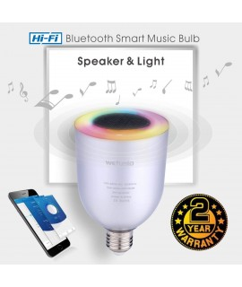 Kashoom Led Music Bulb, Wireless Bluetooth Speaker LED Light Bulb , Smart Dimmable White RGB Color Light Party Bulb - Works with iPhone, iPad, Android Phone and Tablet